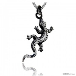 Sterling Silver Gecko Pendant, 7/8 in tall