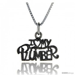 Sterling Silver I Love My Plumber Talking Pendant, 1 in wide