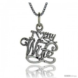 Sterling Silver I Love My Wife Talking Pendant, 1 in wide
