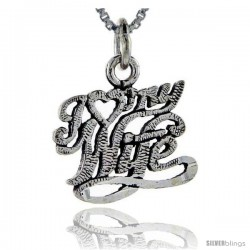 Sterling Silver I Love My Wife Talking Pendant, 1 in wide -Style Pa742