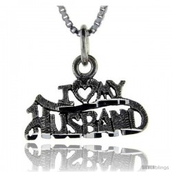 Sterling Silver I Love My Husband Talking Pendant, 1 in wide