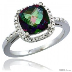 14k White Gold Ladies Natural Mystic Topaz Ring Cushion-cut 3.8 ct. 8x8 Stone Diamond Accent