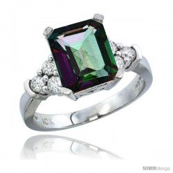 14k White Gold Ladies Natural Mystic Topaz Ring Emerald-shape 9x7 Stone Diamond Accent