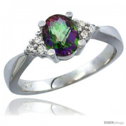 14k White Gold Ladies Natural Mystic Topaz Ring oval 7x5 Stone Diamond Accent -Style Cw408168