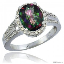 14k White Gold Ladies Natural Mystic Topaz Ring oval 10x8 Stone Diamond Accent