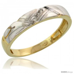 Gold Plated Sterling Silver Ladies Diamond Wedding Band, 5/32 in wide -Style Agy112lb