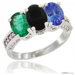 10K White Gold Natural Emerald, Black Onyx & Tanzanite Ring 3-Stone Oval 7x5 mm Diamond Accent
