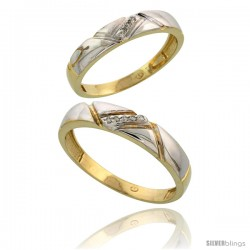 Gold Plated Sterling Silver Diamond 2 Piece Wedding Ring Set His 4.5mm & Hers 4mm