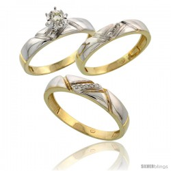 Gold Plated Sterling Silver Diamond Trio Wedding Ring Set His 4.5mm & Hers 4mm