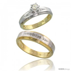 Gold Plated Sterling Silver 2-Piece Diamond Wedding Engagement Ring Set for Him & Her, 5mm & 6mm wide -Style Agy113em