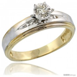 Gold Plated Sterling Silver Diamond Engagement Ring, 3/16 in wide -Style Agy113er
