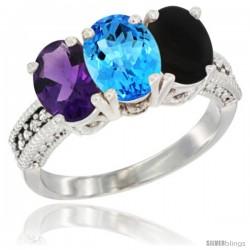 14K White Gold Natural Amethyst, Swiss Blue Topaz & Black Onyx Ring 3-Stone 7x5 mm Oval Diamond Accent