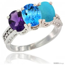 14K White Gold Natural Amethyst, Swiss Blue Topaz & Turquoise Ring 3-Stone 7x5 mm Oval Diamond Accent
