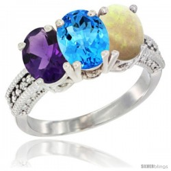 14K White Gold Natural Amethyst, Swiss Blue Topaz & Opal Ring 3-Stone 7x5 mm Oval Diamond Accent