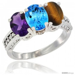 14K White Gold Natural Amethyst, Swiss Blue Topaz & Tiger Eye Ring 3-Stone 7x5 mm Oval Diamond Accent