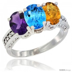 14K White Gold Natural Amethyst, Swiss Blue Topaz & Whisky Quartz Ring 3-Stone 7x5 mm Oval Diamond Accent