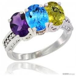 14K White Gold Natural Amethyst, Swiss Blue Topaz & Lemon Quartz Ring 3-Stone 7x5 mm Oval Diamond Accent