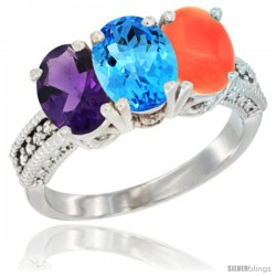 14K White Gold Natural Amethyst, Swiss Blue Topaz & Coral Ring 3-Stone 7x5 mm Oval Diamond Accent