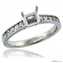 14k White Gold Semi Mount (for 5mm 0.75 Carat Size Princess Cut) Diamond Ring w/ 0.30 Carat Brilliant Cut ( H-I Color SI1