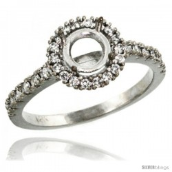14k White Gold Semi Mount (for 6mm 1 Carat Size Round Diamond) Engagement Ring w/ 0.34 Carat Brilliant Cut Diamonds, 3/8 in