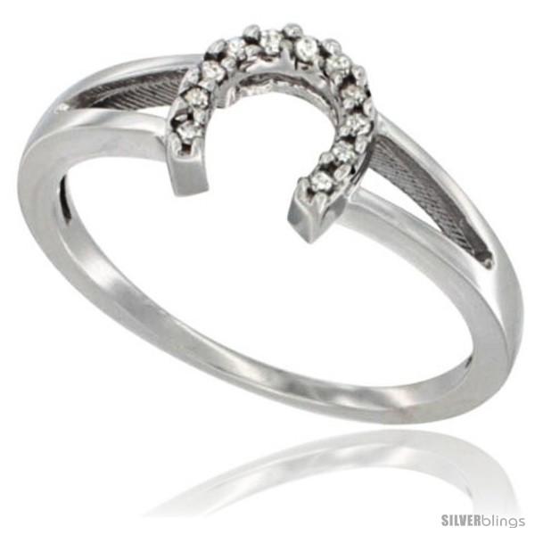 14K White Gold La s Diamond Horseshoe Ring 0 06 cttw 1 4 in