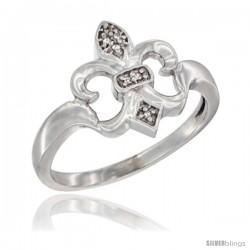 14k White Gold Diamond Fleur De Lis Ring 5/8 in wide