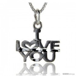 Sterling Silver I Love You Talking Pendant, 1 in wide -Style Pa756