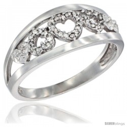 14k White Gold Diamond Dainty Hearts Ring 3/8 in wide