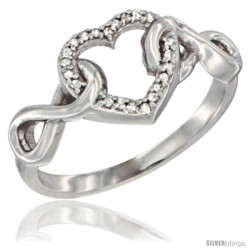 14k White Gold Diamond Heart Ring Infinity Symbols 3/8 in wide