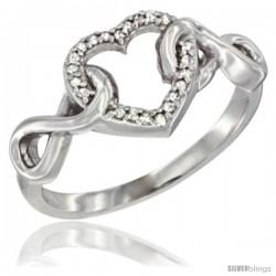 14k White Gold Diamond Heart Ring Infinity Symbols 3/8 in wide