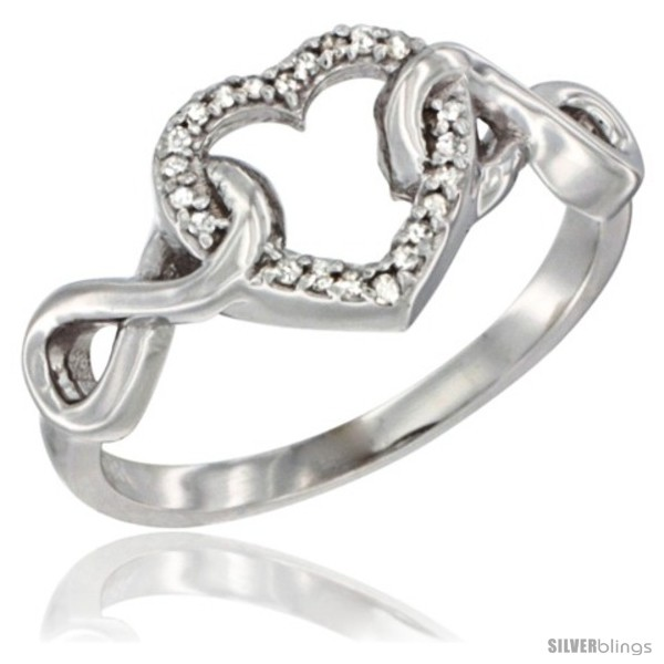 14k White Gold Diamond Heart Ring Infinity Symbols 38 In Wide