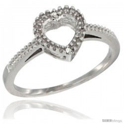 14k White Gold Dainty Diamond Heart Ring 3/8 in