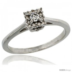 14k White Gold Square-shaped Diamond Engagement Ring w/ 0.119 Carat Brilliant Cut Diamonds, 3/16 in. (5mm) wide