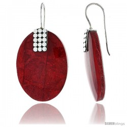 """Sterling Silver Oval Natural Red Coral Earrings 1 1/4"""" (31 mm)"""