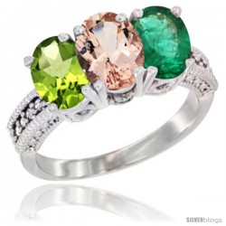 10K White Gold Natural Peridot, Morganite & Emerald Ring 3-Stone Oval 7x5 mm Diamond Accent