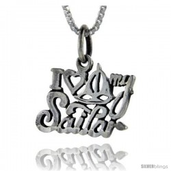 Sterling Silver I Love My Sailor Talking Pendant, 1 in wide