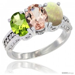 10K White Gold Natural Peridot, Morganite & Opal Ring 3-Stone Oval 7x5 mm Diamond Accent