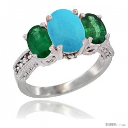 10K White Gold Ladies Natural Turquoise Oval 3 Stone Ring with Emerald Sides Diamond Accent