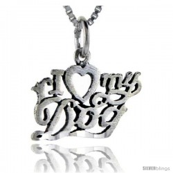 Sterling Silver I Love My Dog Talking Pendant, 1 in wide