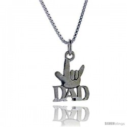 Sterling Silver Cool Dad Talking Pendant, 1 in wide