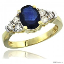 10k Yellow Gold Ladies Natural Blue Sapphire Ring oval 9x7 Stone