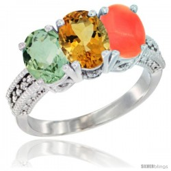 14K White Gold Natural Green Amethyst, Citrine & Coral Ring 3-Stone 7x5 mm Oval Diamond Accent