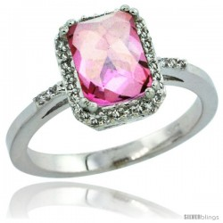 10k White Gold Diamond Pink Topaz Ring 1.6 ct Emerald Shape 8x6 mm, 1/2 in wide -Style Cw906129