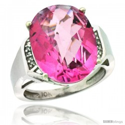 10k White Gold Diamond Pink Topaz Ring 9.7 ct Large Oval Stone 16x12 mm, 5/8 in wide