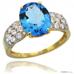 14k Gold Natural Swiss Blue Topaz Ring 10x8 mm Oval Shape Diamond Accent, 3/8inch wide