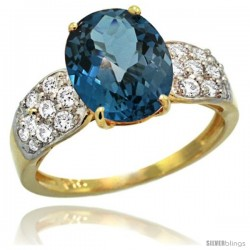 14k Gold Natural London Blue Topaz Ring 10x8 mm Oval Shape Diamond Accent, 3/8inch wide