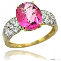 14k Gold Natural Pink Topaz Ring 10x8 mm Oval Shape Diamond Accent, 3/8inch wide