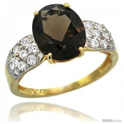 14k Gold Natural Smoky Topaz Ring 10x8 mm Oval Shape Diamond Accent, 3/8inch wide