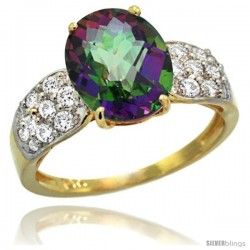 14k Gold Natural Mystic Topaz Ring 10x8 mm Oval Shape Diamond Accent, 3/8inch wide
