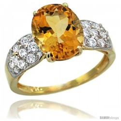 14k Gold Natural Citrine Ring 10x8 mm Oval Shape Diamond Accent, 3/8inch wide